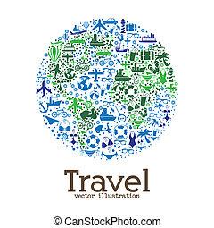large, voyage, mondiale