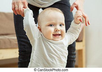 large, walk., bouche, apprentissage, enfant, ouvert, heureux