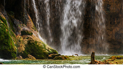 Large waterfall at Plitvice lakes. Croatia