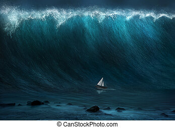 Large wave - A small boat being captured by a large wave.