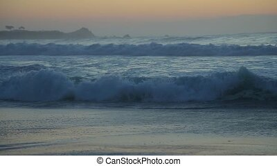 Large waves close-up near the Pacific coast - Waves of the...