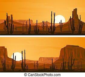 large, west., illustration, prairie, sauvage, bannières horizontales