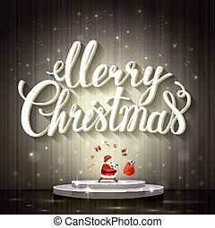 Large white lettering Merry Christmas. Santa Claus juggles...