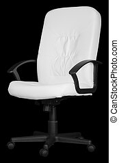Large white office chair isolated on black