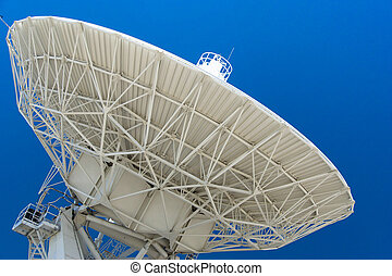 large white satellite dish under a blue cloudless sky