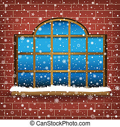 large window and snow - The large wooden window and falling ...