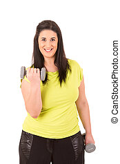 Large Woman - Beautiful large woman exercising - isolated...