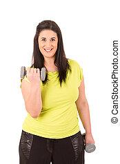 Large Woman - Beautiful large woman exercising - isolated...