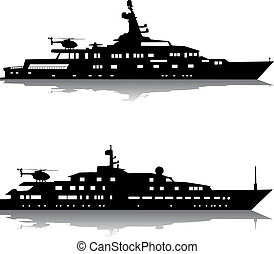 Large yachts with helicopters