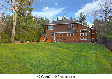 Large yard and a cute wood two story home