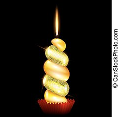 large yelllow candle - black background and the large yellow...