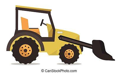Large yellow bulldozer vector illustration.