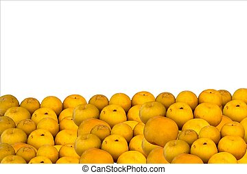 Large yellow plums on white background