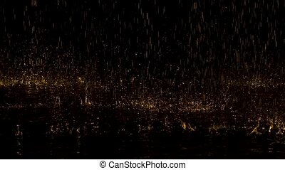 Large yellow raindrops drum on the water and bounce to the sides creating splashes. Dark studio with neon lights. Slow motion. Close up