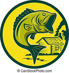 largemouth低音, fish, 跳跃