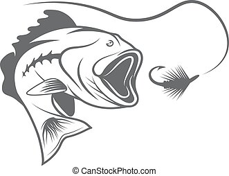 largemouth bass and lure vector design template