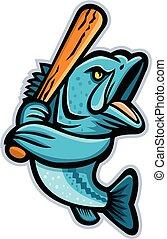 Largemouth Bass Baseball Mascot