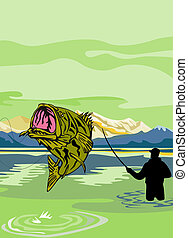 illustration of a Largemouth Bass Fish jumping being reeled by Fly Fisherman with Fishing rod done in retro style