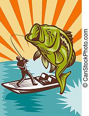 Largemouth Bass Fish Fishing - illustration of a Largemouth...