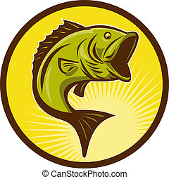Largemouth Bass fish jumping done in retro woodcut style -...