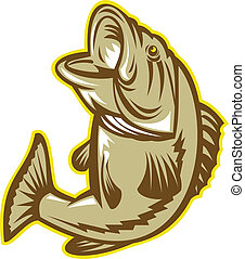 Illustration of a largemouht bass fish jumping done in retro woodcut style on isolated background.