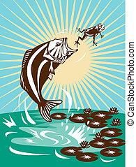 largemouth bass jumping frog - illustration of a largemouth...