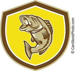 Largemouth Bass Jumping Shield Retro - Illustration of a...