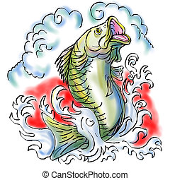 largemouth bass jumping with waves - illustration of a...