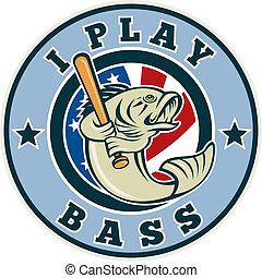 Largemouth bass playing baseball - illustration of a cartoon...