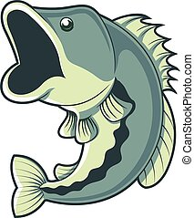 Vector cartoon illustration of largemouth bass fish