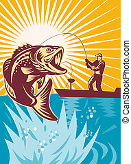 largemouth, fish, bas, fiske