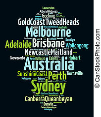 Largest cities in Australia word cloud concept