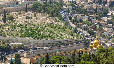 Largest Jewish cemetery in the world on slopes timelapse of Mount of Olives, Jerusalem, Israel