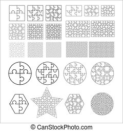 Largest set of white puzzles pieces in different shapes. Jigsaw Puzzle template ready for print. Cutting guidelines isolated on white