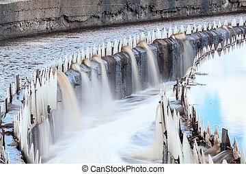 largo, agua, desbordante, colonos, redondo, exposición