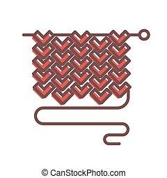 largo, aguja, con, tejido, pedazo, de, lana, tela, y, hilo