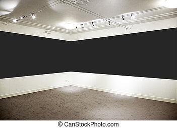 largo, arte, panel., gallery., nero, orizzontale