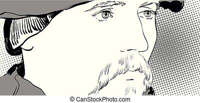 largo, beret., senor, retrato, seigneur., moustache., hombre