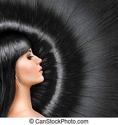 largo, brillante, pelo, de, un, hermoso, morena