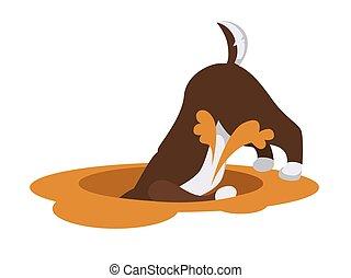 largo, cão, profundo, escava, areia, husky, buraco