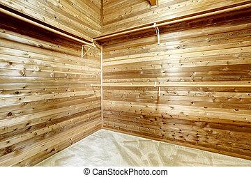 largo, casa madeira, sala, campo, vestindo, interior