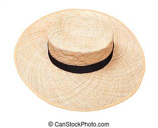 largo-colmato, banda, corona, cappello paglia, nero