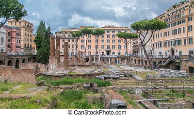 Largo di Torre Argentina timelapse in Rome. It is a square ...