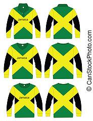 largo-envuelto, bandera, camisa, jamaica