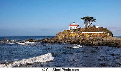 largo, faro, nord, città, costa, california, mezzaluna, lungo, vista