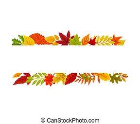 largo, fondo., leaves., illustrazione, autunno, banda, ...