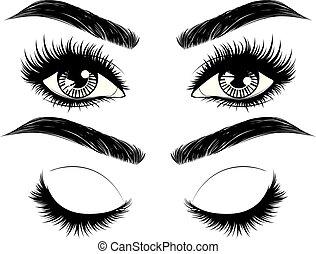 largo, frentes, ojos, pestañas