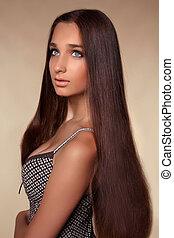 largo, hair., belleza, mujer, con, sano, brillante, liso, marrón, hair., modelo, morena, niña, portrait.