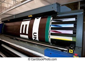 largo, impressora, formato, -, imprimindo, digital