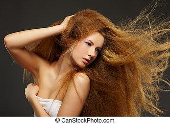 largo-long-haired, mujer, rizado, pelirrojo